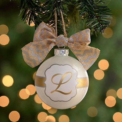 Pearl White Monogram L Ornament