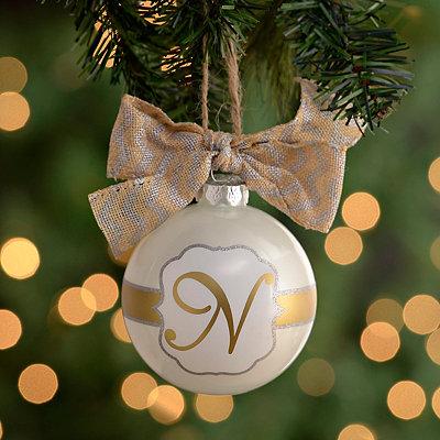 Pearl White Monogram N Ornament