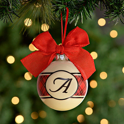 Red and Black Plaid Monogram A Ornament