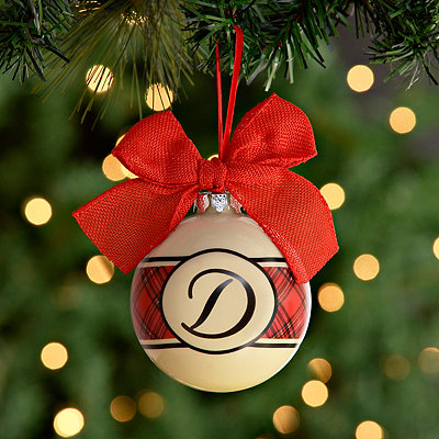 Red and Black Plaid Monogram D Ornament