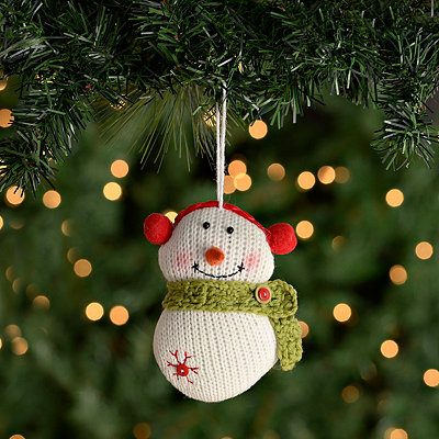 Plush Knit Snowman Ornament