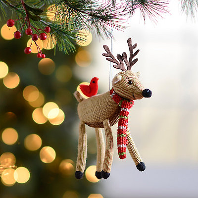 Plush White Reindeer Ornament