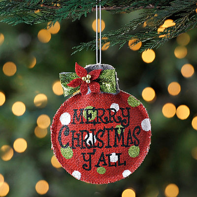 Burlap Merry Christmas Y'all Ornament