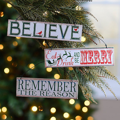 Classic Christmas Sign Ornaments, Set of 3