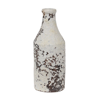 Distressed Ivory Terra Cotta Bottle Vase, 8 in.