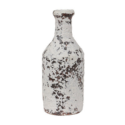 Distressed Ivory Terra Cotta Bottle Vase, 10 in.