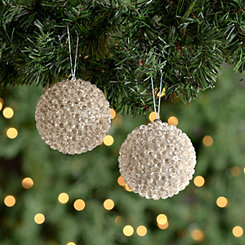 Champagne Beaded Ornaments, Set of 2