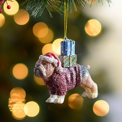 Present Puppy Bulldog Ornament