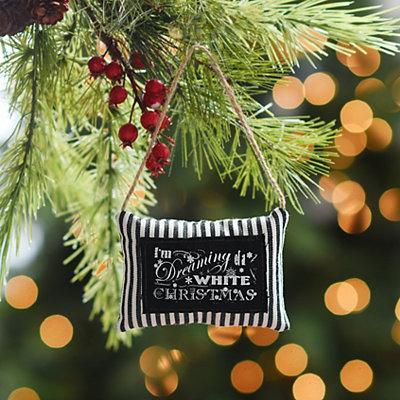 Black & White Stripe Chalk Art Pillow Ornament