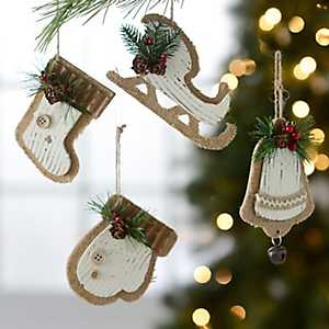 Distressed Ivory Winter Motif Ornaments, Set of 4