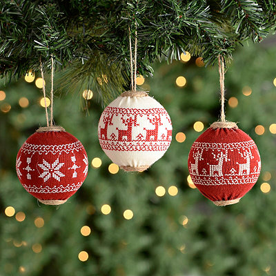 Red & White Knit Ball Ornaments, Set of 3