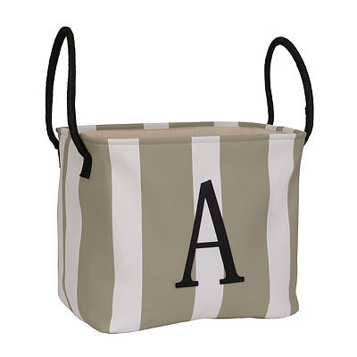 Striped Monogram A Storage Bin