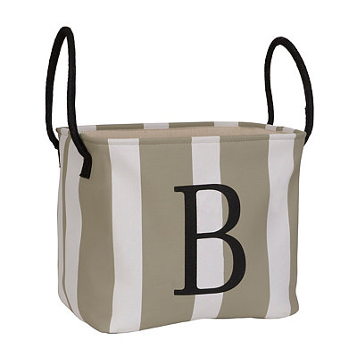 Striped Monogram B Storage Bin