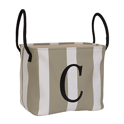 Striped Monogram C Storage Bin