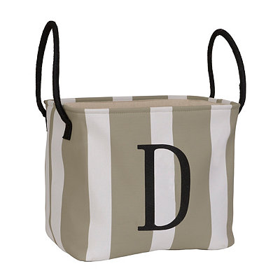 Striped Monogram D Storage Bin