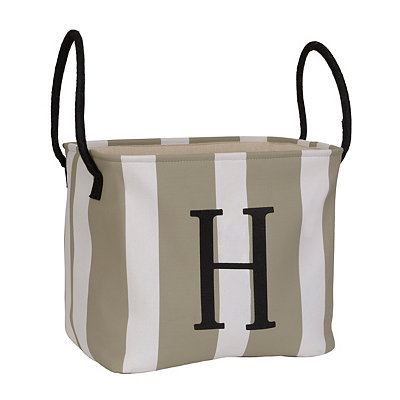 Striped Monogram H Storage Bin