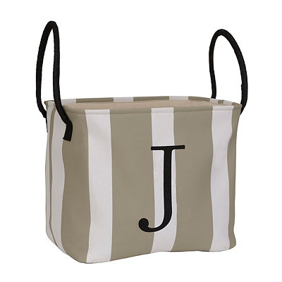Striped Monogram J Storage Bin