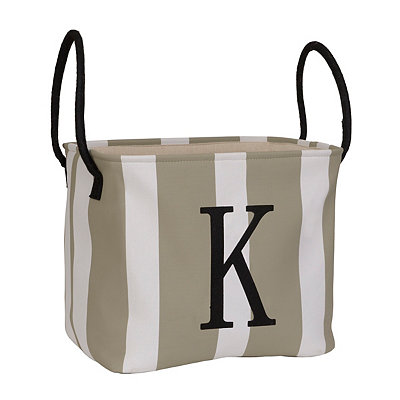 Striped Monogram K Storage Bin