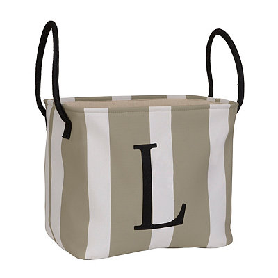 Striped Monogram L Storage Bin