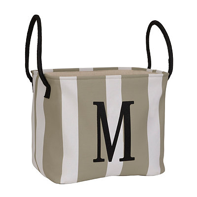 Striped Monogram M Storage Bin