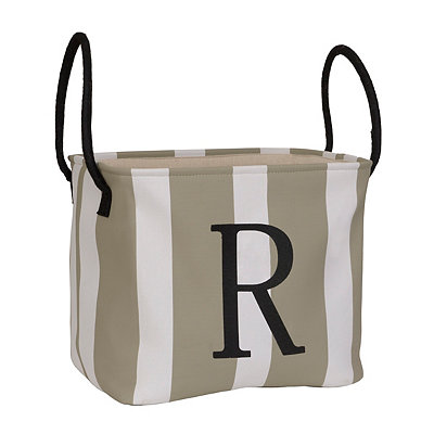 Striped Monogram R Storage Bin