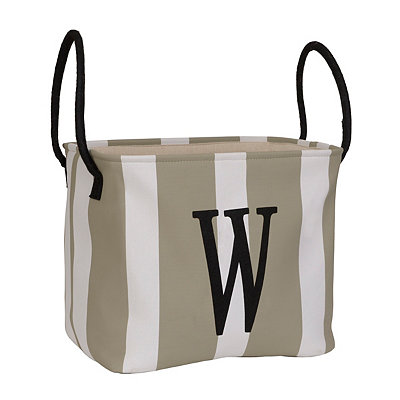 Striped Monogram W Storage Bin