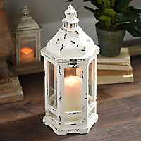 Distressed Old Ivory Lantern
