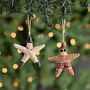 Santa and Snowman Starfish Ornaments, Set of 2
