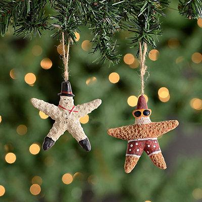 Santa and Snowman Starfish Ornaments, Set of 2