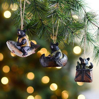 Woodland Bear Ornaments, Set of 3