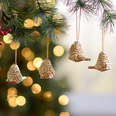 Golden Bird Ornaments, Set of 4