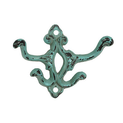 Distressed Turquoise Cast Iron Double Hook