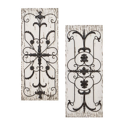 Adelaide Distressed White Wooden Plaque, Set of 2