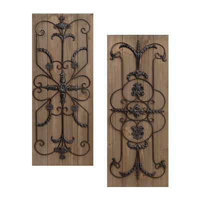 Adelaide Natural Wooden Plaque, Set of 2