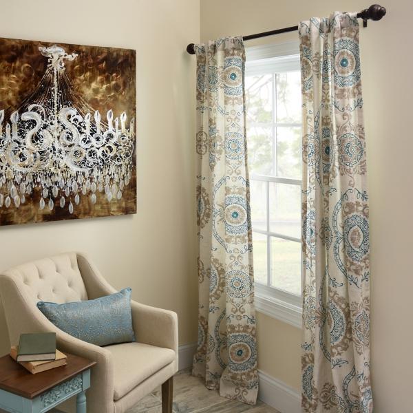 Aqua Loretta Curtain Panel Set 84 In