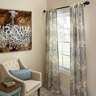 Aqua Loretta Curtain Panel Set, 84 in.