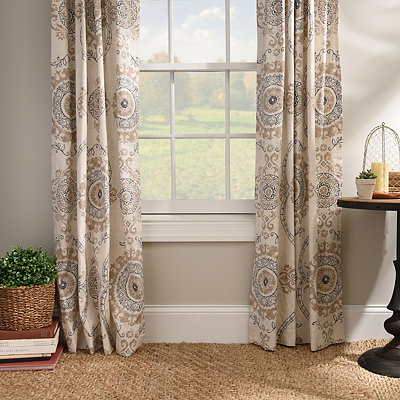 Taupe Loretta Curtain Panel Set, 84 in.