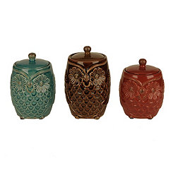 Farm Owl Canisters, Set of 3