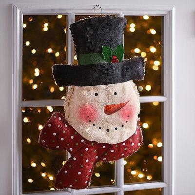 Rustic Snowman Burlap Wall Hanger