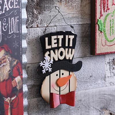 Distressed Wood Plank Snowman Plaque