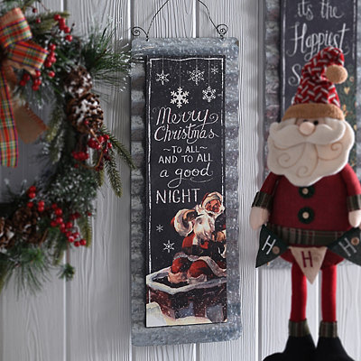 Merry Christmas to All Vintage Tin Plaque