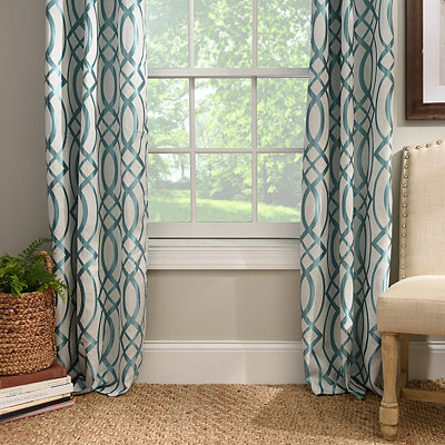 Aqua Avalon Curtain Panel Set, 84 in.