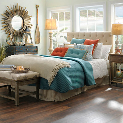 Aqua Stitch 3-pc. Queen Quilt Set