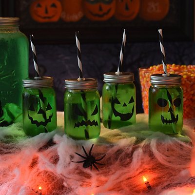 Jack O' Lantern Mason Jar Tumblers, Set of 4