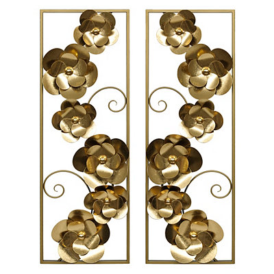 Metallic Gold Floral Metal Plaques, Set of 2