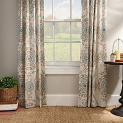 Aqua Loretta Curtain Panel Set, 96 in.