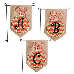 Chevron Ornament Monogram Burlap Flag Sets