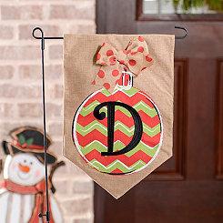 Chevron Ornament Monogram D Burlap Flag Set