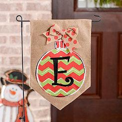 Chevron Ornament Monogram E Burlap Flag Set