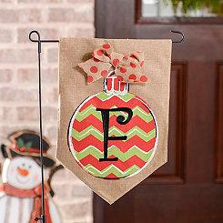 Chevron Ornament Monogram F Burlap Flag Set